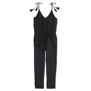 J.Crew Women's Black Crepe Jumpsuit with Tassels